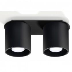 SOLLUX Okrągła lampa sufitowa plafon podwójny Orbis 2 Czarny walec LED!