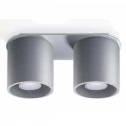 SOLLUX Okrągła lampa sufitowa plafon podwójny Orbis 2 Szary walec LED!