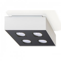 SOLLUX Efektowny Designerski Plafon Kwadrat Mono 4 Biały LED Lampa Sufitowa Oświetlenie Minimalistyczne
