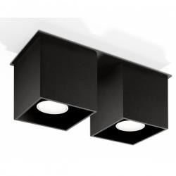 SOLLUX Kwadratowa lampa sufitowa podwójny plafon Quad 2 Czarny kostka LED!