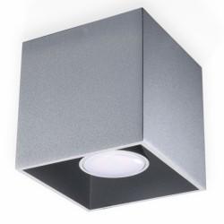SOLLUX Lampa Sufitowa Downlight Quad Szara LED! minimalistyczny plafon kwadratowy na sufit